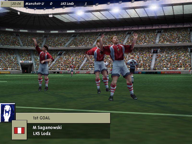 """7 fifa gol - """"Czerwone Diabły"""" za burtą! Zobacz jak wyglądał ŁKS w grze FIFA 99"""