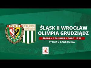 Śląsk II Wrocław – Olimpia Grudziądz, II LIGA, 02.12.2020| TRANSMISJA
