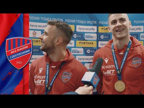 Marcin Cebula i Vladislavs Gutkovskis po zdobyciu Pucharu Polski