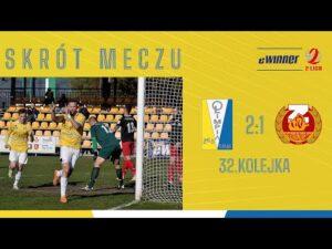 SKRÓT: Olimpia Elbląg 2:1 Znicz Pruszków   32. kolejka, eWinner 2. Liga