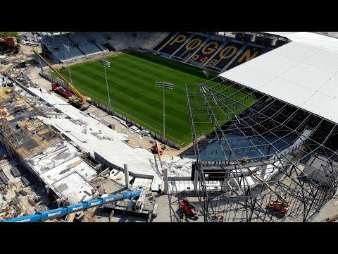 Budowa Stadionu w Szczecinie – Dach na łuku, telebim i coraz wyższa trybuna północna